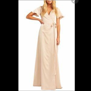 Satin wrap evening dress